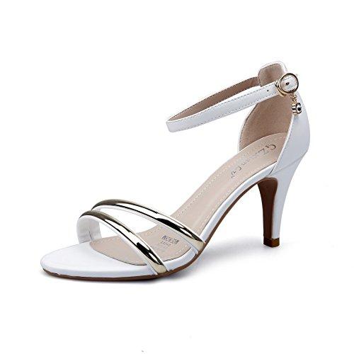 1TO9 - Peep-Toe donna, bianco (White), 35