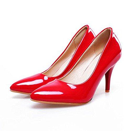 COOLCEPT Mujer Moda Tacon de Aguja Tacon Alto Basico Trabajo Boca Baja Zapatos Extra Tamano Rojo