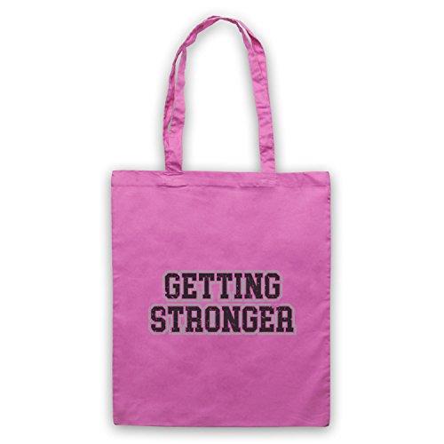 Getting Stronger Bodybuilding Workout Slogan Bolso Rosa