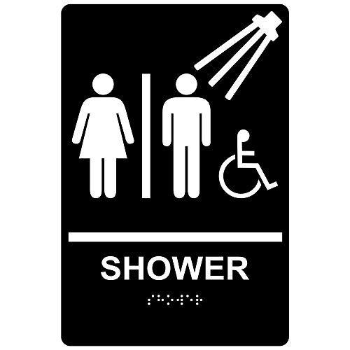 ComplianceSigns ADA Shower Sign, 9 x 6 in. with English + Braille, Black, Acrylic ()