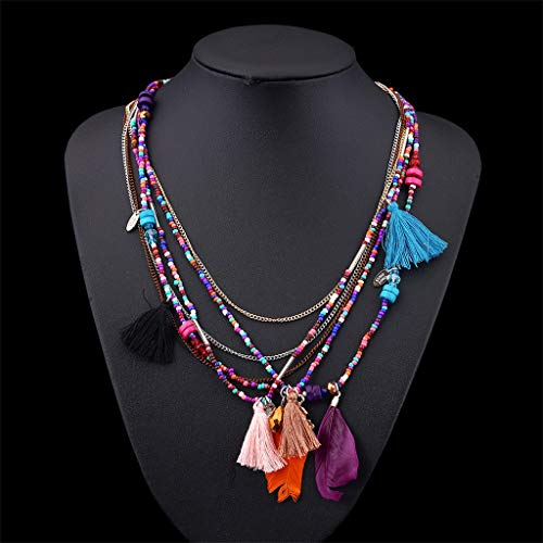 (Sinfu Necklace-Women Jewelry Multi-Layer & Multiple Styles Chain Hand-Strung Bead Bohemian Feather Necklace (Pink))