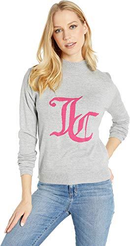 Juicy Couture Women's Mock Neck Intarsia Logo Sweater Heather Cozy Medium