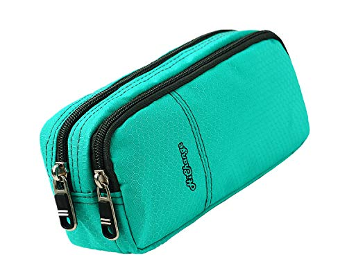 Pencil Cases Large Pencil Bag with Double Zippers Multi Compartments for Girls Boys Adults (Green)