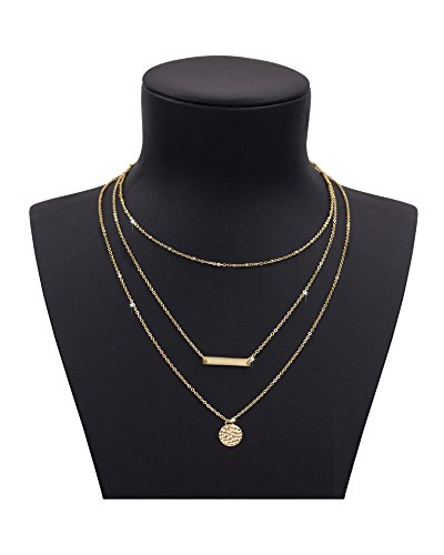 Triple Chain Charm Necklace - 1