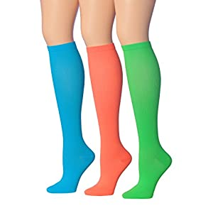 Ronnox Women's 3-Pairs solid colored Knee High Graduated Compression Socks, (12-14 mmHg) CP05-B