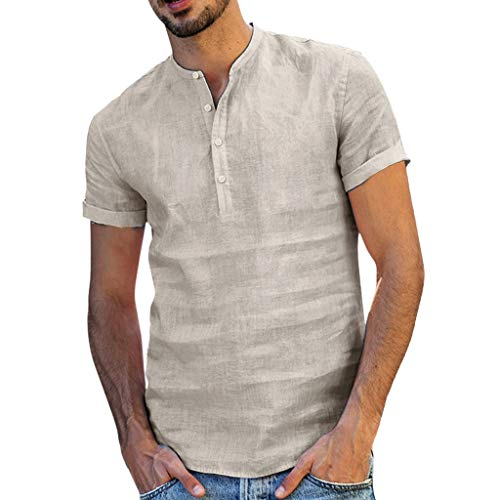 (Men's Retro Fashion Casual T-Shirt,MmNote Cotton Linen Moisture Wicking Performance Simple Classic Fit Short Sleeve Khaki)
