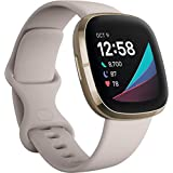 Fitbit Sense Advanced Smartwatch with Tools for Heart Health  Stress Management & Skin Temperature Trends  White/Gold  One Size (S & L Bands Included)