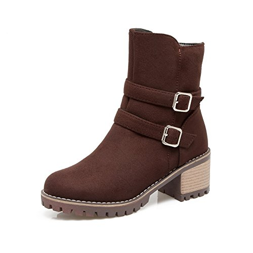 Metal Multilayer Strap Zip Womens Brown Calf polypropylene SXC02585 Boots AdeeSu Mid xq4IHn