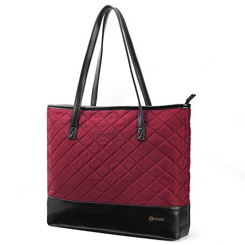 Nylon Classic Briefcase - POSO Women Tote Bag Handbag Nylon Briefcase Classic Shoulder Tote Bag Fits 15.6 Inches Laptop For Women/Ladies/Girls (Nylon+Micro-fiber, Wine Red)