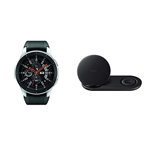 Samsung Galaxy Watch (46mm) Silver (Bluetooth) & Wireless Charger Duo, Fast Charge Stand & Pad, Universally Compatible with Qi Enabled Phones and Select Samsung Watches, Black