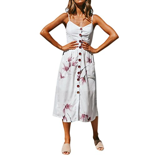 Sateen Swing - Forthery Women's Dress Summer Floral Button Down Swing Midi Dress with Pockets (White-Floral, S)