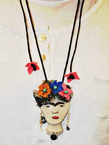 (Handmade Applique Necklace with Frida Kahlo Design)