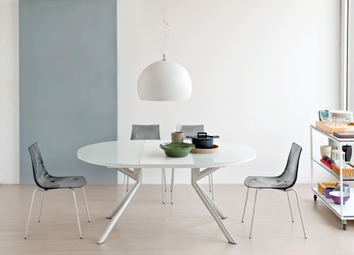 O&G Calligaris Ausziehbarer Tisch Meteor, rund weiß