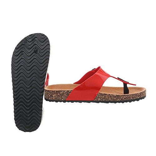 Ital-Design Zehentrenner Damenschuhe Sandalen & Sandaletten Rot KU-8