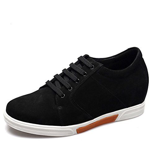 (CHAMARIPA Men's 2.95 Inch Black Suede Leather Casual Shoes Make You Look Taller US)