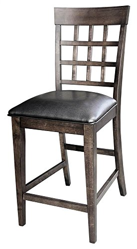 A-America Bristol Point Lattice back Counter Chair - 2 Chairs, Warm Grey
