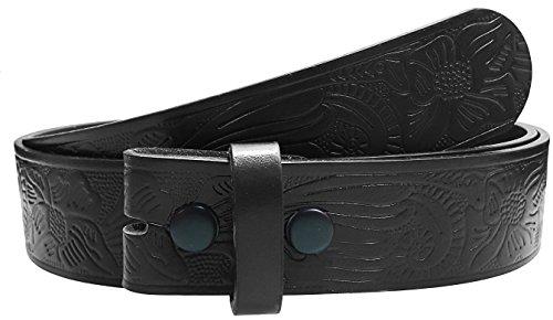 Sm Flower (LUNA Western Embossed Tooled Leather Belt Strap - Flower Type 3 - Black - SM)