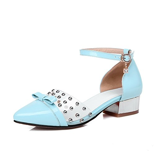 Solid Blue Toe Cow Leather Women's Low heels Closed WeenFashion Sandals Buckle Pointed axpfnw