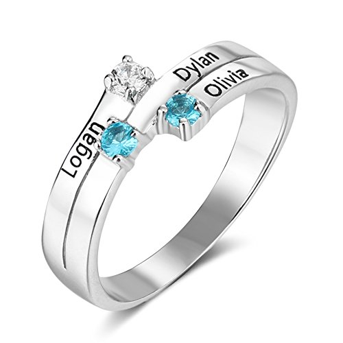 Personalzed Mother's Day Ring For 3 Children With Birthstones Names Customized 925 Silver Family Mothers (3 Stone Mom Ring)