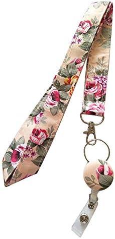 Surlove Umhängeband für Damen, mit Blumenmuster, einziehbar, Stoff für Schlüssel, Schlüsselanhänger, Krankenschwester, Ausweishalter Champagne Color