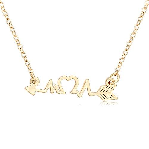 MANZHEN Arrow Heart Cardiogram ECG Heartbeat Pendant Necklace for Women (Gold)