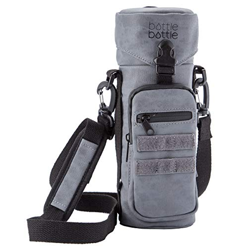 Water Bottle Holder Carrier Pouch Fits 12 to 40 oz Bottles, Tactical Molle Water Bottle Bag with Adjustable Padded Shoulder Strap and Pockets for Walking and Hiking(Gray)