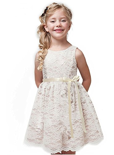 Shop Ginger Wedding Ivory Flower Girl Dress Lace Bow Sash Children Communion D6 (5-6Y, Ivory Ribbon)
