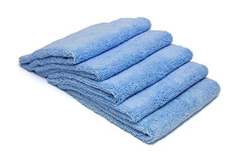 AUTOFIBER Zeroedge Detailing Towel (Pack of 5) Edgeless Microfiber Polishing, Buffing, Window, Glass, Waterless, Rinseless, Car Wash Towels (Blue)