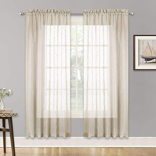 (RYB HOME Window Curtain Sheer for Living Room, Semi Sheer Panels with Casual Linen Wave Pattern, Rod Pocket Privacy Sheer for Kids Room, Warm Beige, W 52 x L 72 inches, Set of 2)