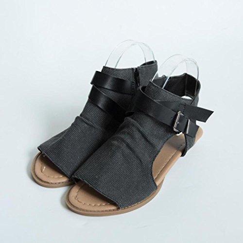Hunpta Frauen Fisch Mund Schuhe Sandalen flache Ferse solide Knöchel Strap Slipper Sandalen Schwarz