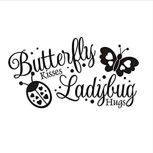 Butterflies Kisses Ladybug Hugs Wall Stickers Vinyl Art Wall Decals Self Adhesive Wallpaper Baby Room Home Decor 105 58CM Vinyl Wall Sticker Living Room Bedroom