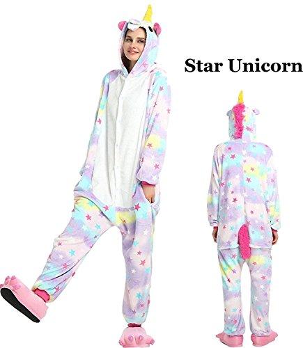 Unisex Adult Onesie Animal Kigurumi Unicorn Cosplay Halloween Pajamas Costume (L, Star) (Unicorn Halloween Costume Adults)