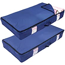 ACMETOP Ultra Large Under Bed Storage for Clothes, Blanket, Comforters, Linen, Shoes, Household Under-bed & Closet Organizer – Durable & Reusable (2-Pack, Navy)