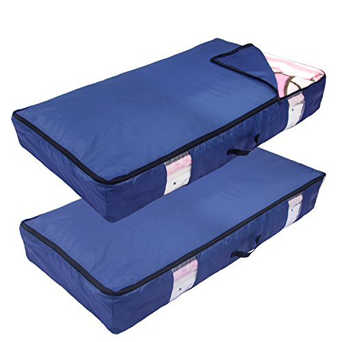 ACMETOP Ultra Large Under Bed Storage for Clothes, Blanket, Comforters, Linen, Shoes, Household Under-bed & Closet Organizer – Durable & Reusable, 2 Pack (Navy) (2-Pack, Navy) (Bed Shoe Under Containers)