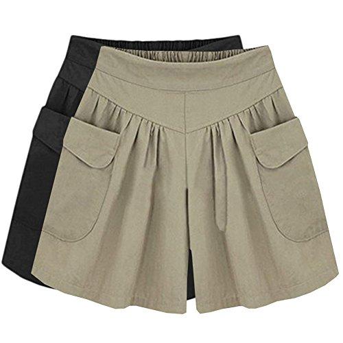 XinDao Women's Summer Classic Fashion Comfortable Culottes Elastic Waist Wide Leg Pocket Casual Large Size Summer Wide Leg Shorts Black+Khaki US L/Asia 3XL