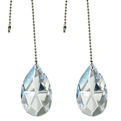"""Magnificent crystal 50mm (2"""") Clear Crystal Almond Prism 2 Pieces Dazzling Crystal Ceiling FAN Pull Chain"""