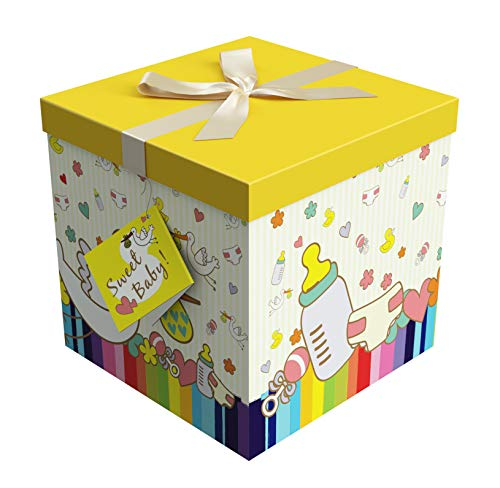 Baby Gift Box 12x12x12 Petit Bebe Collection - Easy to Assemble & Reusable - No Glue Required - Ribbon, Tissue Paper, and Gift Tag Included - EZ Gift Box by Endless Art US]()