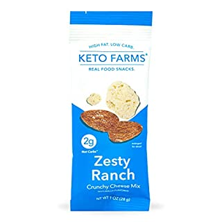 Keto Farms, Crunchy Cheese Mix, Keto Snacks (2g Net Carb) [Zesty Ranch] 1 Ounce, 6 Count | Keto Friendly Low Carb Snacks - Real Food, Bold Flavor, Satisfies Keto Chips Cravings, Portion Control