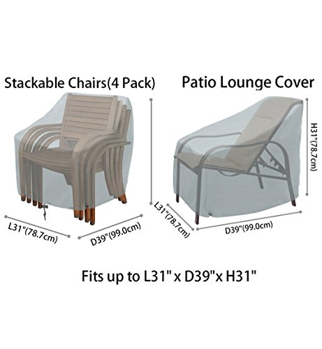Patio Chairs Cover Outdoor Chairs Covers Stackable Chairs Cover Waterproof Premium Outdoor Furniture Cover Durable and Water Resistant Fabric(L31 x D39 x H31 inch) (Gray 4Pack) by konln (Image #1)