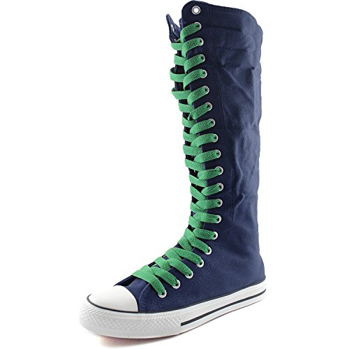 DailyShoes Womens Canvas Mid Calf Tall Boots Casual Sneaker Punk Flat, Navy Blue Boots, Leaf Green Lace
