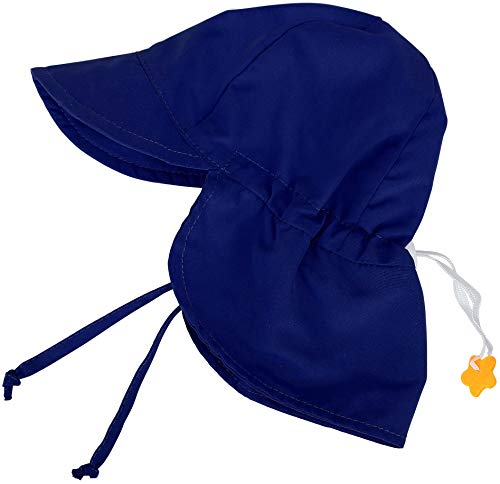 SimpliKids UPF 50+ UV Ray Sun Protection Baby Hat w/Neck Flap,Navy,12-24 M -