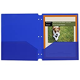 C-Line Two-Pocket Heavyweight Poly Portfolio Folder with Three-Hole Punch, Box of 25, Blue (32935)