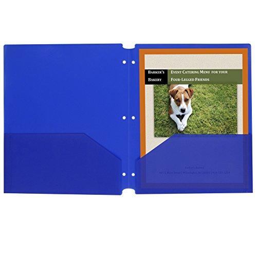 C-Line Two-Pocket Heavyweight Poly Portfolio Folder with Three-Hole Punch, Box of 25, Blue (32935)