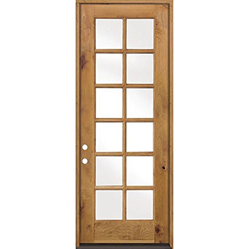 Krosswood Doors 32 in. x 96 in. Classic French Alder 12-Lite Clear Low-E Glass Right-Hand Unfinished Wood Exterior Prehu