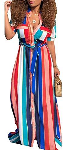 Belt Rainbow Womens Dresses Clothing (VLUNT Womens Rainbow Stripes Printed Shirt Dress Botton Down Casual Maxi Long Dress with Belt)