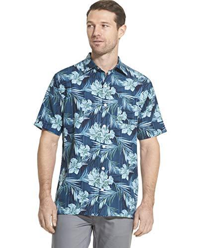 - Van Heusen Men's Air Tropical Short Sleeve Button Down Poly Rayon Shirt, Turquoise Washington Blue, XX-Large