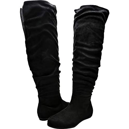 Luoika Women's Wide Width Knee High Flat Boots - Stretchy Side Zipper Cushioned Lining Suede Winter ()