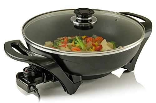 Ovente Round Electric Frying Pan/Skillet with Tempered Glass Lid and 5 Variable Thermostat Control, Keep Warm Function, 13 inch, Cool-Touch Handles (SK3113B)