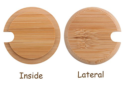 Dedoot 12PCS Wood Lids for Mason Jars, Wooden Mug Cover, Glass Jar Wood Drink Cup Lid with Spoon Hole (φ2.6IN) by Dedoot (Image #1)
