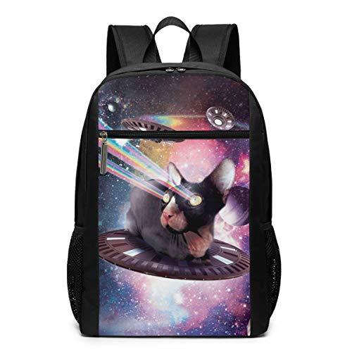Universe Lazer Space Hairless Cat Riding UFO Laptop Backpack for Men Women Teen Girl Boy Kids Student Bookbag Business Travel Computer Bag Durable Large Daypack Lightweight